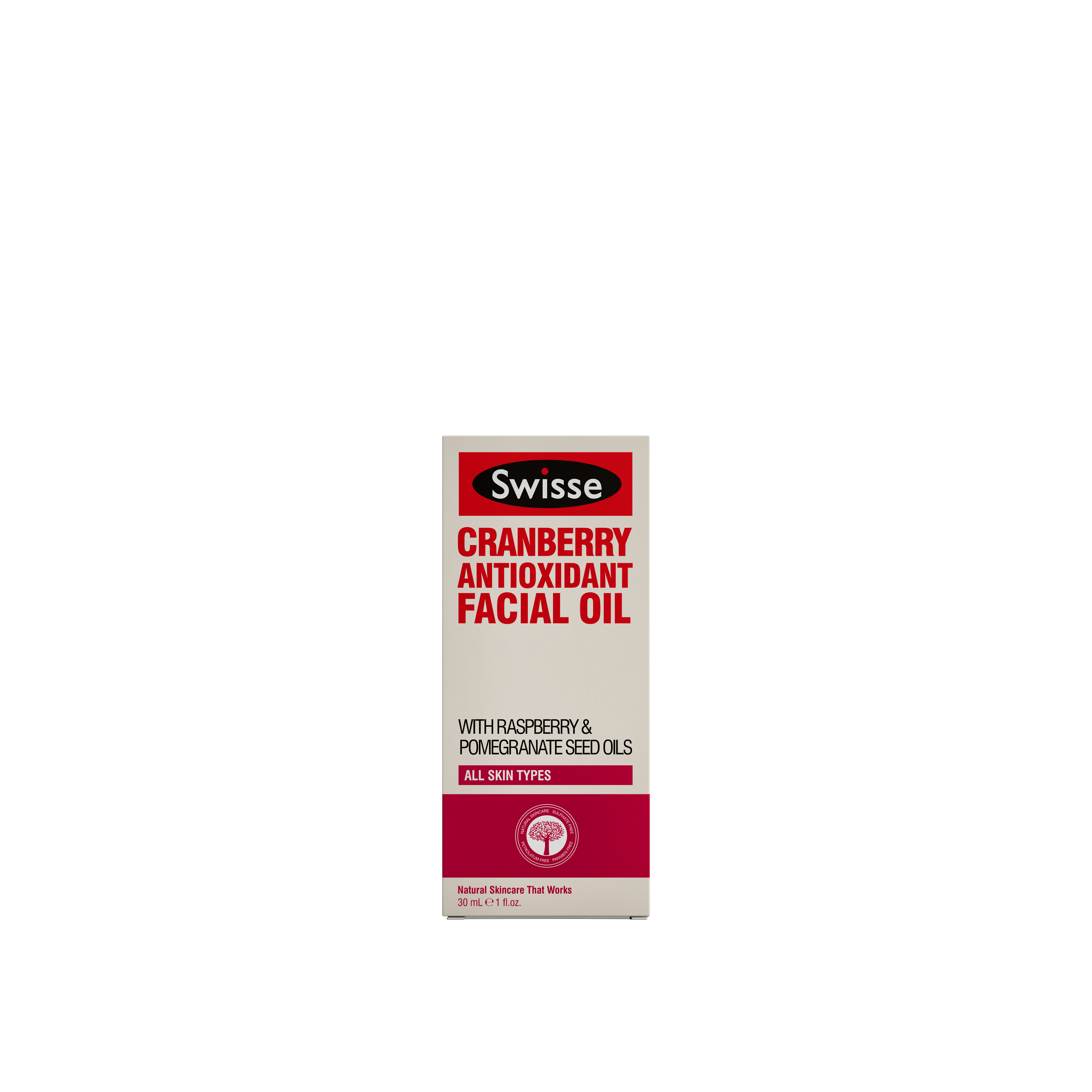 Swisse skincare oils Cranberry Antioxidant Oil carton pack shot