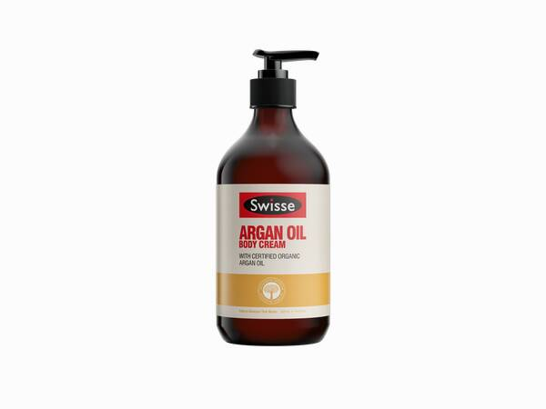 Swisse skincare body argan oil moisturiser 500ml Pump product shot