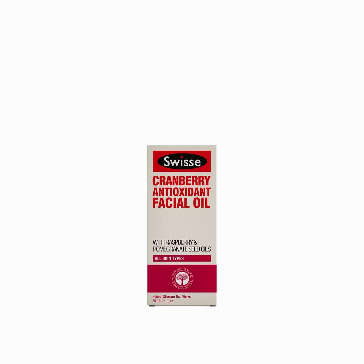 Swisse skincare oils Cranberry Antioxidant Oil carton pack shot